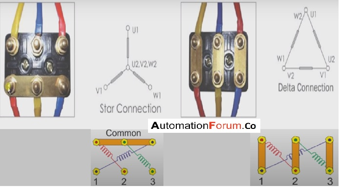 How to connect a three-phase motor in star and delta connection